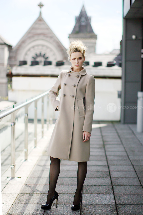 14/7/2010. Brown Thomas Autumn winter 2010. Pictured in Brown Thomas offices Dublin to launch the Brown Thomas Autumn winter 2010 collection are Model Sarah wears a Prada coat EUR2400. Picture James Horan/Collins