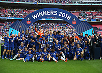 19th May 2018, Wembley Stadium, London, England; FA Cup Final football, Chelsea versus Manchester United; Chelsea players celebrate winning the FA Cup on the pitch