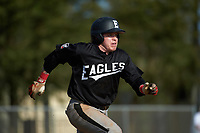 Edgewood Eagles Nik Visone (24) during the first game of a doubleheader against the Lasell Lasers on April 14, 2016 at Terry Park in Fort Myers, Florida.  Edgewood defeated Lasell 9-7.  (Mike Janes/Four Seam Images)