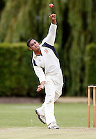 Vimal Arjan bowls for Wembley during the Middlesex Cricket League Division Two game between Brondesbury and Wembley at Harman Drive, London on Sat Aug 1, 2015