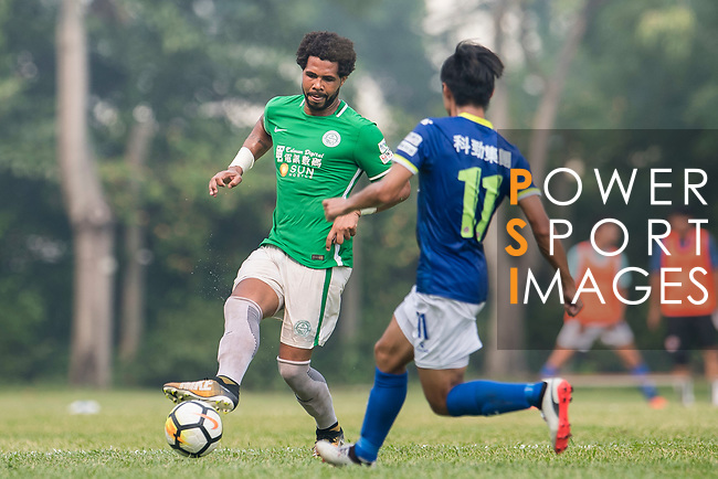 Eduardo Praes of Wofoo Tai Po (L) in action during the week three Premier League match between BC Rangers and Wofoo Tai Po at Sham Shui Po Sports Ground on September 17, 2017 in Hong Kong, China. Photo by Marcio Rodrigo Machado / Power Sport Images