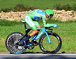 Green Jersey Alejandro Valverde (ESP) Movistar Team in action during Stage 16 of the La Vuelta 2018, an individual time trial running 32km from Santillana del Mar to Torrelavega, Spain. 11th September 2018.                    Picture: Karlis Medrano | Cyclefile<br /> <br /> <br /> All photos usage must carry mandatory copyright credit (&copy; Cyclefile | Karlis Medrano)