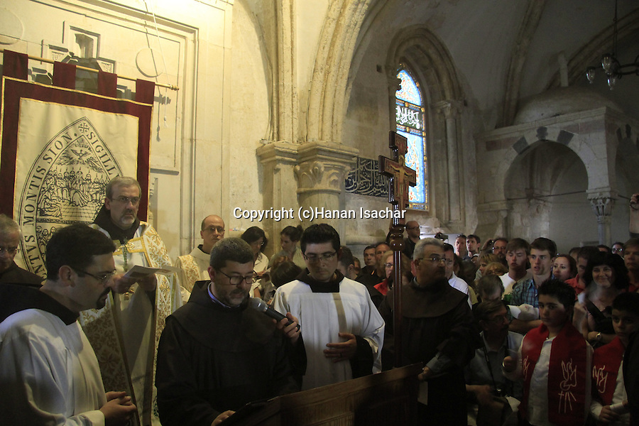 Israel, Jerusalem, the Custos of the Holy Land Fr. Pierbattista Pizzaballa ofm leads the Holy Thursday ceremony at the Cenacle on Mount Zion