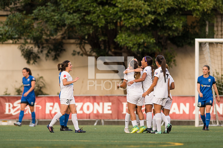 Seattle, WA - Sunday, September 24th, 2017: FC Kansas City celebrate their goal during a regular season National Women's Soccer League (NWSL) match between the Seattle Reign FC and FC Kansas City at Memorial Stadium.