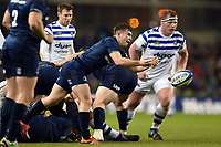 Luke McGrath of Leinster Rugby passes the ball. Heineken Champions Cup match, between Leinster Rugby and Bath Rugby on December 15, 2018 at the Aviva Stadium in Dublin, Republic of Ireland. Photo by: Patrick Khachfe / Onside Images