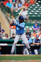 Tampa Bay Rays right fielder Guillermo Heredia (54) at bat during a Grapefruit League Spring Training game against the Baltimore Orioles on March 1, 2019 at Ed Smith Stadium in Sarasota, Florida.  Rays defeated the Orioles 10-5.  (Mike Janes/Four Seam Images)