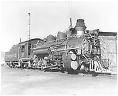 D&amp;RGW #476 K-28 numbered #17 for the TV pilot &quot;Diamond Jim&quot; with &quot;Continental&quot; on the tender.  It is sitting by roundhouse in Durango.<br /> D&amp;RGW  Durango, CO  Taken by Payne, Andy M. - 10/29/1964