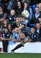 Cardiff, Wales. Leigh Halfpenny of Cardiff Blues kicks a conversion during the Heineken Cup Match between Cardiff Blues and Toulon at The Arms Park on October 21, 2012 in Cardiff, Wales