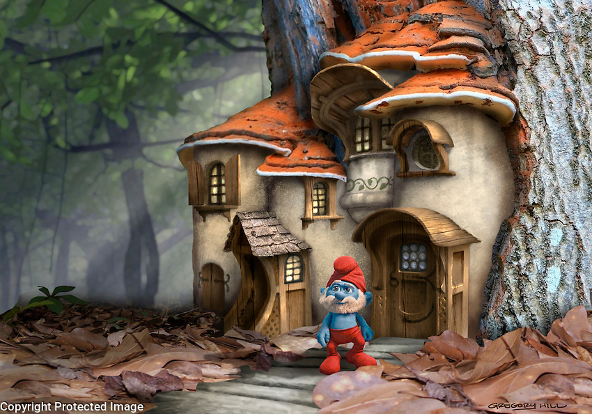 Another Smurf home. Since the Smurfs would be 3D characters, in realistic environments, we were attempting to find a proper look for the village.