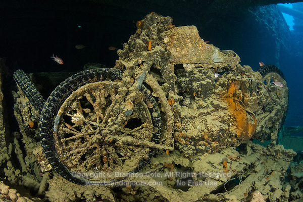 TG74730-D. A motorcyle in Hold 2 on the SS Thistlegorm, which sank in the northern Red Sea in the Straits of Gubal in 1941 during World War II. The 126 meter long armed freighter was transporting military supplies to the British army, and while at anchor one night was bombed by German aircraft. Nine crewman lost their lives when the vessel sank quickly. Today the ship is one of the most famous wreck dives in the world, a virtual museum showcasing motorcycles, jeeps, weaponry, locomotives, and more. Egypt, Red Sea.<br /> Photo Copyright &copy; Brandon Cole. All rights reserved worldwide.  www.brandoncole.com