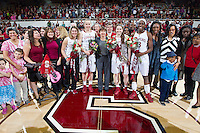 Stanford seniors celebrates their victory over Washington State. Stanford women's basketball  vs Washington State at Maples Pavilion, Stanford, California on March 1, 2014.