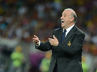01.07.2012 Kiev, Ukraine.  Spain's coach Vicente del Bosque gestures during the UEFA EURO 2012 final soccer match Spain vs. Italy at the Olympic Stadium in Kiev, Ukraine, 01 July 2012.