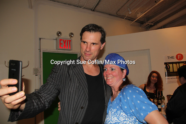 "As The World Turns' Austin Peck does a selfie with Donna Baker at ""The F"" - a Benefit for the film was held on June 22, 2018 at the Freeman Studio, New York City, New York. (Photo by Sue Coflin/Max Photo)"