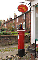 Post box and post office, Tattenhalll, Cheshire.
