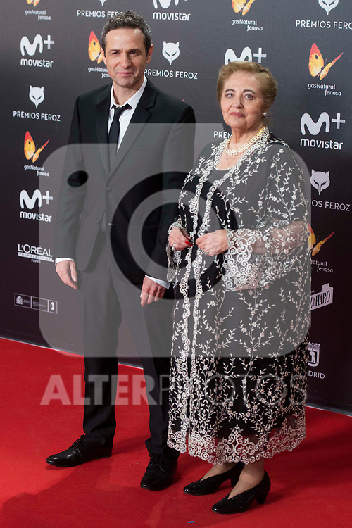 Gustavo Salmeron and his mother attends red carpet of Feroz Awards 2018 at Magarinos Complex in Madrid, Spain. January 22, 2018. (ALTERPHOTOS/Borja B.Hojas)