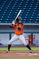 AZL Giants first baseman Beicker Mendoza (12) at bat against the AZL Cubs on July 17, 2017 at Sloan Park in Mesa, Arizona. AZL Giants defeated the AZL Cubs 12-7. (Zachary Lucy/Four Seam Images)