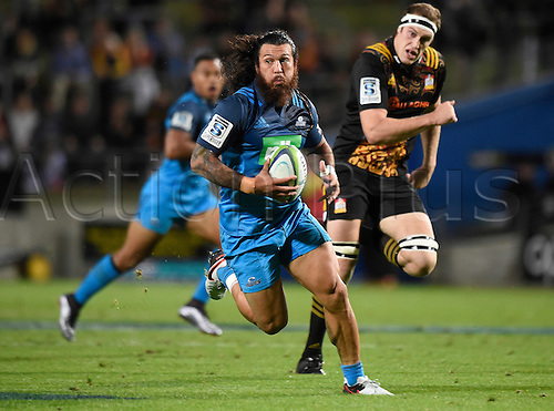 08.04.2016. Hamilton, New Zealand.  Rene Ranger on an open field run during the Blues versus Chiefs Super Rugby match at Waikato Stadium, Hamilton, New Zealand. Friday 8 April 2016.