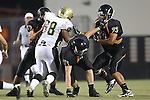 Beverly Hills, CA 09/23/11 - Jeraud Williams (Beverly Hills #73), Legend Waters (Beverly Hills #71), Eric Simsolo (Beverly Hills #62) and Joren Lagmay (Peninsula #68) in action during the Peninsula-Beverly Hills Varsity football game.