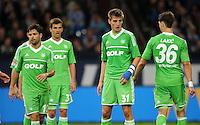 FUSSBALL   1. BUNDESLIGA  SAISON 2012/2013   7. Spieltag   FC Schalke 04 - VfL Wolfsburg        06.10.2012 Diego, Robin Knoche und Srdjan Lakic (v.l., alle VfL Wolfsburg) sind enttaeuscht