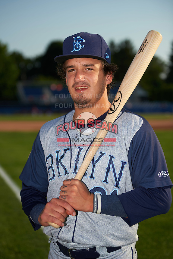 Brooklyn Cyclones designated hitter Jay Jabs (21) poses for a photo before a game against the Batavia Muckdogs on July 5, 2016 at Dwyer Stadium in Batavia, New York.  Brooklyn defeated Batavia 5-1.  (Mike Janes/Four Seam Images)