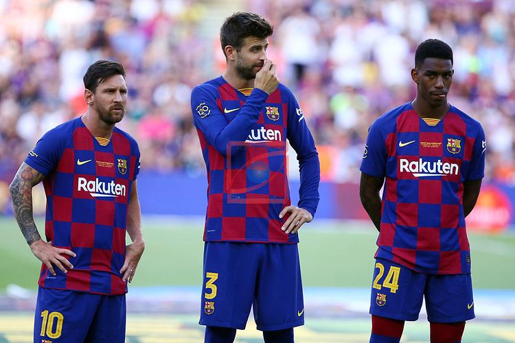 Presentation 1st team FC Barcelona 2019/2020.<br /> Lionel Messi, Gerard Pique & Junior.