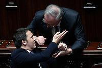 Matteo Renzi e Guglielmo Epifani<br /> Roma 25-02-2014 Camera. Voto di fiducia al nuovo Governo.<br /> Senate. Trust vote for the new Government.<br /> Photo Samantha Zucchi Insidefoto