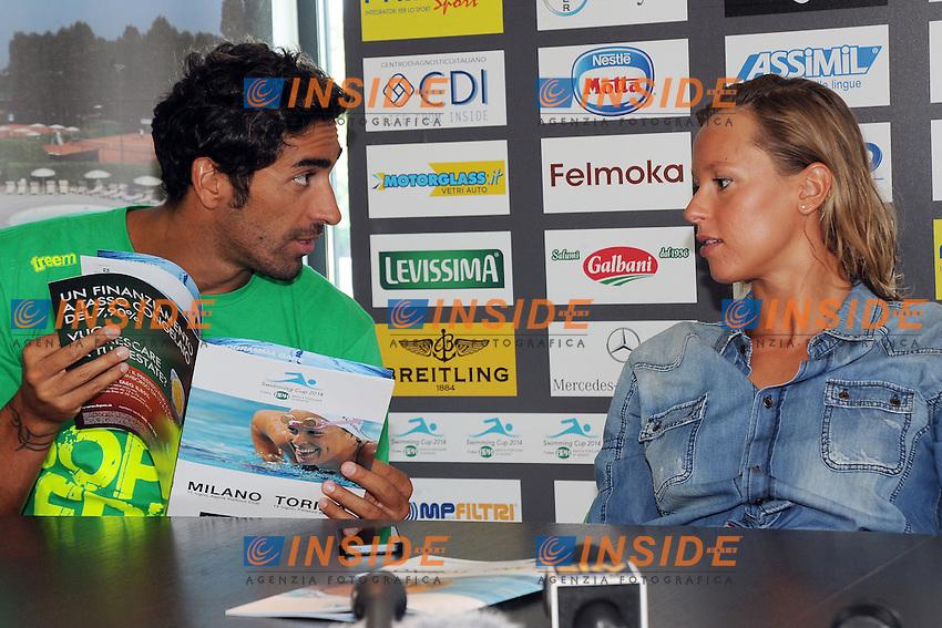 Filippo Magnini, Federica Pellegrini<br /> Milano 15/07/2014 - conferenza stampa per Aspria Swimming Cup 2014 <br /> foto Andrea Ninni/Image/Insidefoto