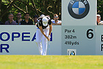 Justin Rose bows in horror at his wayward tee shot from the par 4 6th tee during Round 3 of the BMW PGA Championship at  Wentworth, Surrey, England, 22nd May 2010...Photo Golffile/Eoin Clarke.(Photo credit should read Eoin Clarke www.golffile.ie)....This Picture has been sent you under the condtions enclosed by:.Newsfile Ltd..The Studio,.Millmount Abbey,.Drogheda,.Co Meath..Ireland..Tel: +353(0)41-9871240.Fax: +353(0)41-9871260.GSM: +353(0)86-2500958.email: pictures@newsfile.ie.www.newsfile.ie.