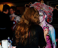 Model, Lindsay Boswell, painted by artist, Mararete Mauthe, competes in the Greater Midwest Body Painting Competition on Saturday, 2/23/13, at Art In Gallery in Madison, Wisconsin