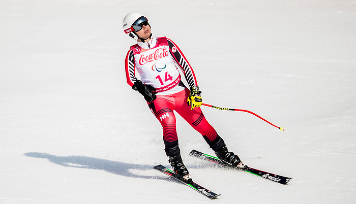 PyeongChang 10/3/2018 - Kirk Schornstein skis in the men's standing downhill at the Jeongseon Alpine Centre during the 2018 Winter Paralympic Games in Pyeongchang, Korea. Photo: Dave Holland/Canadian Paralympic Committee