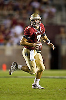 October 10, 2009:     Florida State quarterback Christian Ponder (7) rolls out of the pocket to pass during Atlantic Coast Conference action between the Georgia Tech Yellow Jackets and Florida State Seminoles at Doak Campbell Stadium in Tallahassee, Florida.  Georgia Tech defeated Florida State 49-44.