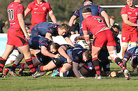 David Cherry of London Scottish goes over the line to score a try during the Greene King IPA Championship match between London Scottish Football Club and Jersey at Richmond Athletic Ground, Richmond, United Kingdom on 18 February 2017. Photo by David Horn / PRiME Media Images.