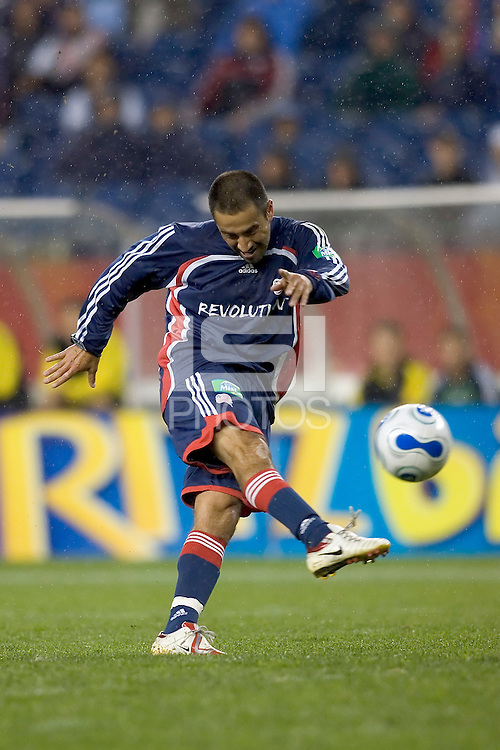 Jose Cancela shoots. NE Revolution defeat Columbus Crew, 1-0, at Gillette Stadium.
