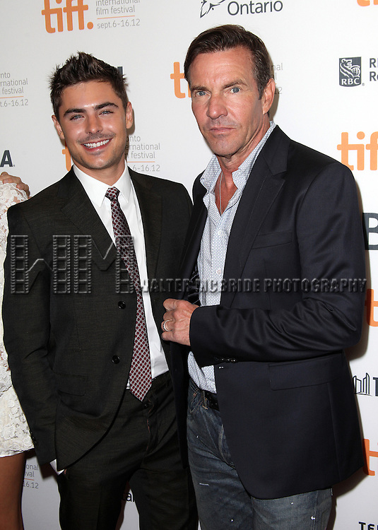 Zac Efron & Dennis Quaid attending the The 2012 Toronto International Film Festival.Red Carpet Arrivals for 'At Any Price' at the Princess of Wales Theatre in Toronto on 9/9/2012
