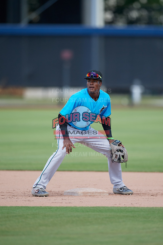 Miami Marlins second baseman Dalvy Rosario (98) during practice before an Instructional League game against the Washington Nationals on September 26, 2019 at FITTEAM Ballpark of The Palm Beaches in Palm Beach, Florida.  (Mike Janes/Four Seam Images)