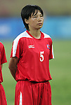 09 August 2008: Song Jong Sun (PRK).  The women's Olympic soccer team of Brazil defeated the women's Olympic soccer team of North Korea 2-1 at Shenyang Olympic Sports Center Wulihe Stadium in Shenyang, China in a Group F round-robin match in the Women's Olympic Football competition.