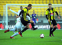 Andrew Durante is fouled during the A-League football match between Wellington Phoenix and Western Sydney Wanderers at Westpac Stadium in Wellington, New Zealand on Saturday, 3 November 2018. Photo: Dave Lintott / lintottphoto.co.nz