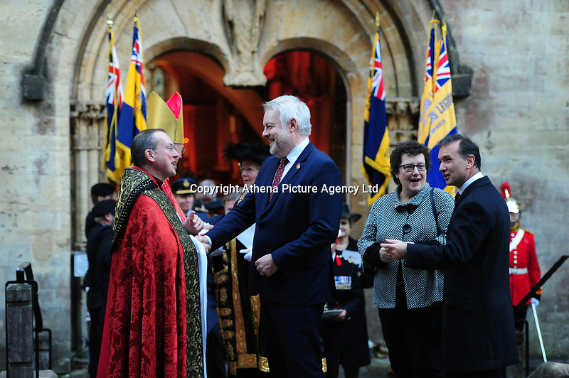 Pictured: Carwyn Howell Jones, First Minister of Wales leaves Llandaff Cathedral, Cardiff, Wales, UK.  Sunday 11 November 2018<br /> Re: Commemoration for the 100 years since the end of the First World War on Remembrance Day at the Llandaff Cathedral, in Llandaff, Cardiff, Wales, UK.