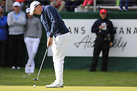 Matthew Fitzpatrick (ENG) takes his putt on the 18th green on the 3rd playoff hole during Sunday's Final Round of the 2017 Omega European Masters held at Golf Club Crans-Sur-Sierre, Crans Montana, Switzerland. 10th September 2017.<br /> Picture: Eoin Clarke | Golffile<br /> <br /> <br /> All photos usage must carry mandatory copyright credit (&copy; Golffile | Eoin Clarke)