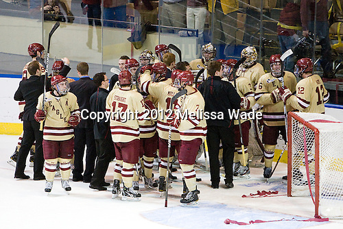 The Eagles celebrate their win. - The Boston College Eagles defeated the University of Minnesota Duluth Bulldogs 4-0 to win the NCAA Northeast Regional on Sunday, March 25, 2012, at the DCU Center in Worcester, Massachusetts.