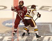 Alexander Kerfoot (Harvard - 14), Dominic Toninato (UMD - 19) - The University of Minnesota Duluth Bulldogs defeated the Harvard University Crimson 2-1 in their Frozen Four semi-final on April 6, 2017, at the United Center in Chicago, Illinois.