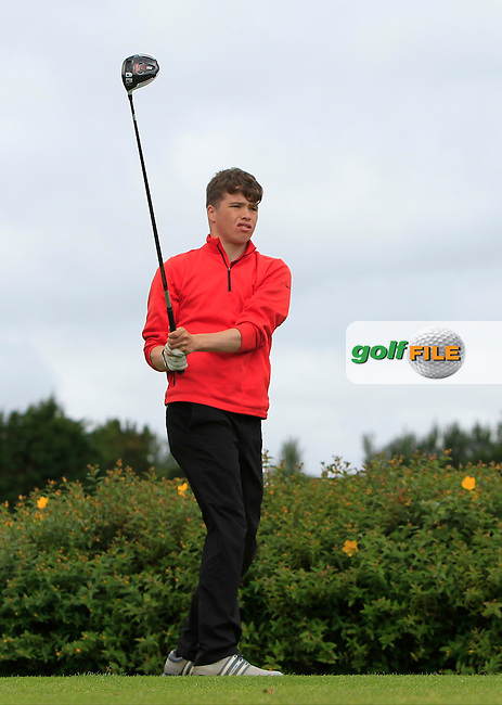 Jack Tuohy Galway on the 18th tee during R1 of the 2016 Connacht U18 Boys Open, played at Galway Golf Club, Galway, Galway, Ireland. 05/07/2016. <br /> Picture: Thos Caffrey | Golffile<br /> <br /> All photos usage must carry mandatory copyright credit   (&copy; Golffile | Thos Caffrey)
