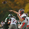 Connetquot quarterback No. 7 Jack Cassidy throws a pass during the second quarter of a Suffolk County Division I varsity football game against Lindenhurst at Lindenhurst Middle School on Friday, September 18, 2015.<br /> <br /> James Escher