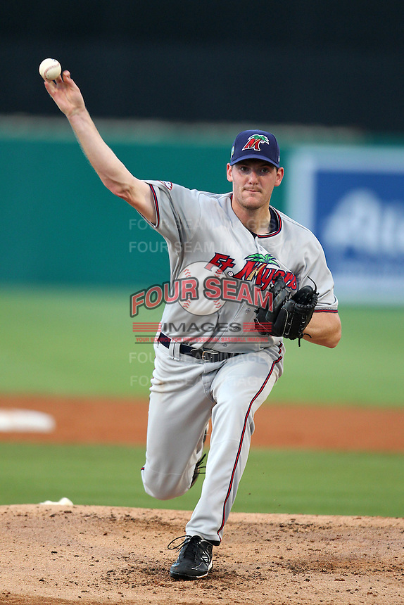 Fort Myers Miracle pitcher Marty Popham #45 during a game against the Palm Beach Cardinals at Roger Dean Stadium on May 1, 2012 in Jupiter, Florida.  Palm Beach defeated Fort Myers 9-3.  (Mike Janes/Four Seam Images)