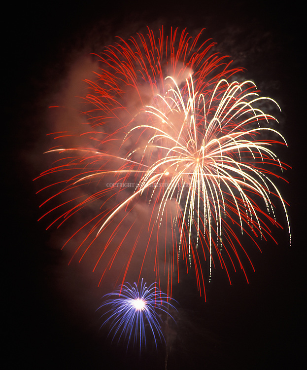 Close-up of fireworks, taken during Independence Day celebrations in Santa Barbara, CA.