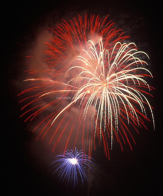 Close-up of fireworks, taken during Independence Day celebrations in Santa Barbara, CA.