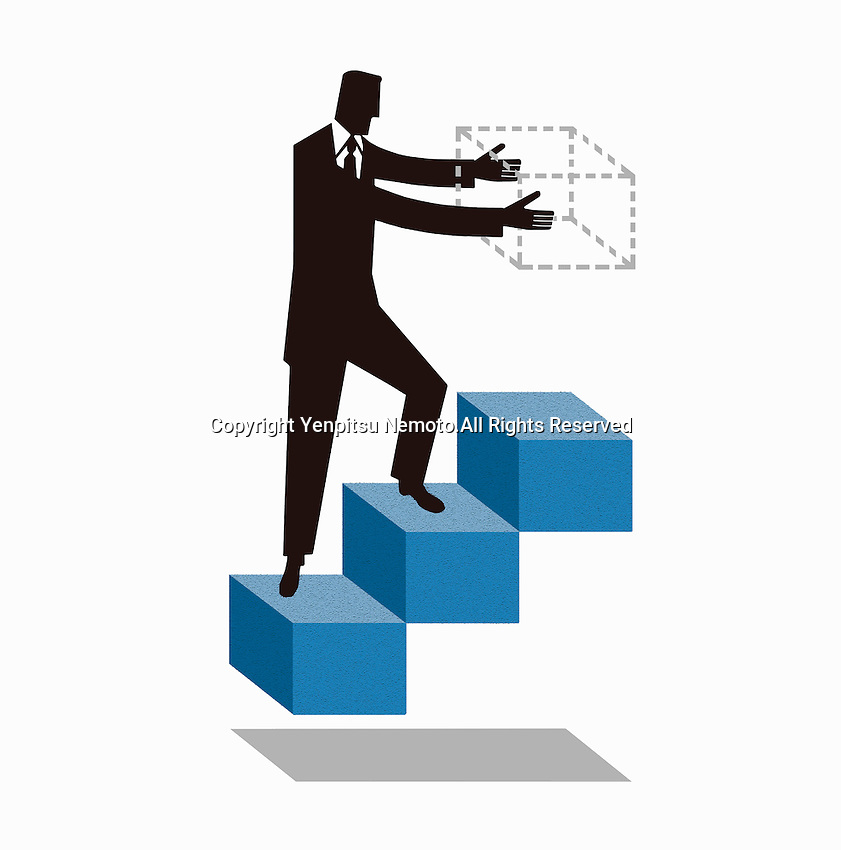 Businessman walking on stairs building next step