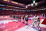 ST PAUL, MN - APRIL 7: The Notre Dame Fighting Irish stand at attention during the Division I Men's Ice Hockey Championship held at the Xcel Energy Center on April 7, 2018 in St Paul, Minnesota. (Photo by Tim Nwachukwu/NCAA Photos via Getty Images)