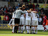 ATTENTION SPORTS PICTURE DESK<br /> Pictured: Swansea City team after the final whistle<br /> Re: Coca Cola Championship, Swansea City FC v Bristol City FC at the Liberty Stadium Swansea, south Wales. Saturday 18 April 2009.<br /> Picture by D Legakis Photography / Athena Picture Agency, Swansea 07815441513