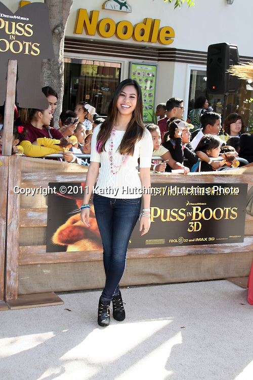"""LOS ANGELES - OCT 23:  Ashley Argota arriving at the """"Puss In Boots"""" Premiere at the Regency Village Theater on October 23, 2011 in Westwood, CA"""